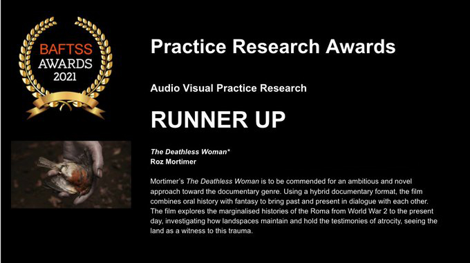 Roz Mortimer's The Deathless Woman wins runner up at the British Film, Television and Screen Studies Practice Research Awards